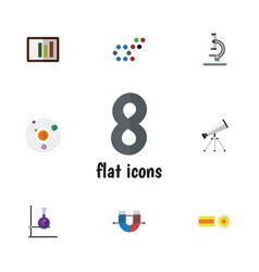 Flat icon science set of molecule chemical flask vector