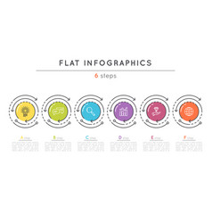 flat style 6 steps timeline infographic template vector image