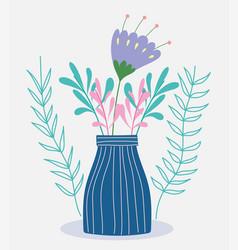 Flower in vase foliage herb wild botany vector