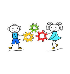 funny stickman boy and girl holding gears cartoon vector image