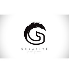 G feather letter logo icon design with feather vector