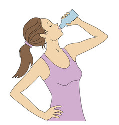 girl drinks water vector image