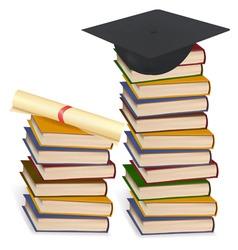 Graduation cap and diploma lay vector