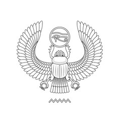 Graphic print of egypt scarab pattern on white vector