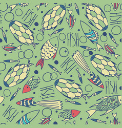 green pattern with fishes in a chaotic manner vector image