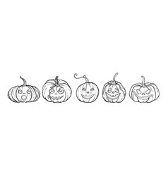 halloween outline black and white pumpkins vector image