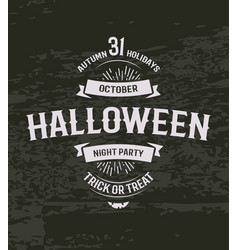 halloween retro invitation 31 october holiday day vector image