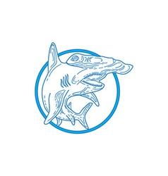 Hammerhead Shark Circle Mono Line vector