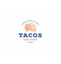 hand drawn logo tacos silhouette and modern vector image