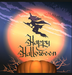happy halloween poster with pumpkin and flying vector image