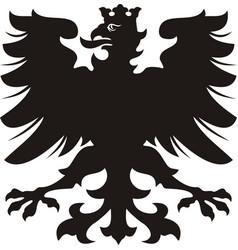 heraldic eagle black white silhouette vector image