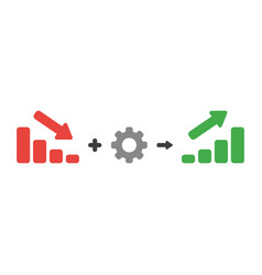 Icon concept of sales bar graph moving down plus vector