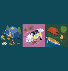 isometric trailer park design concept set vector image