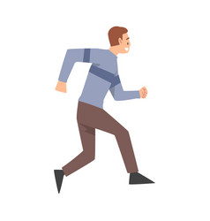 joyful running man dressed in casual clothes vector image