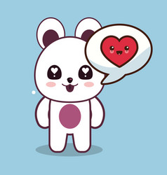 kawaii bear character talk love vector image