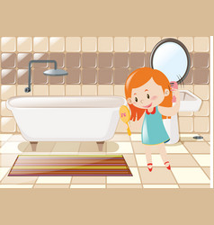 Little girl combing hair in bathroom vector