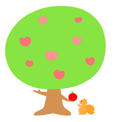 love tree give fruit to squirrel xa vector image