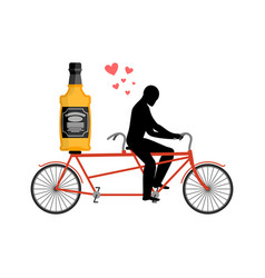 lover drink alcohol bottle of whiskey on bike man vector image