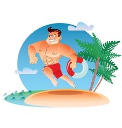 macho water rescue runs along beach vector image