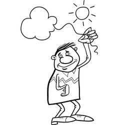 man with cloud on string coloring page vector image