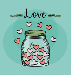 Mason jar glass with hearts draw vector