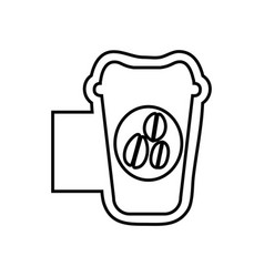 Monochrome contour emblem with disposable coffee vector