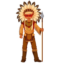 Native American Indian man with weapon vector