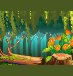 Nature scene with flowers in forest vector