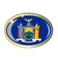 New york state flag oval button vector