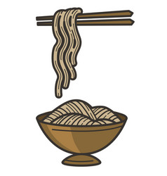 Noodles on chopsticks and bowl chinese fast food vector