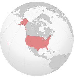 north america with usa on globe vector image