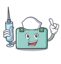 Nurse suitcase character cartoon style vector
