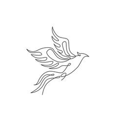 one single line drawing luxury phoenix bird vector image