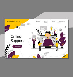 online support landing page 24h customer service vector image