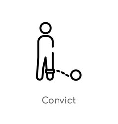 Outline convict icon isolated black simple line vector