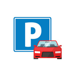 parking road sign with car vehicle or automobile vector image