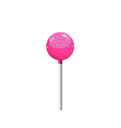 pink lollipop on white background isolated image vector image