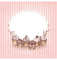 Pink retro background with hand drawn cupcakes vector image