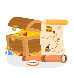 Pirate treasure box with map and telescope vector