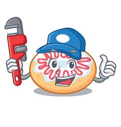 Plumber jelly donut mascot cartoon vector