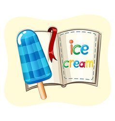 Popsicle icecream and a book vector image