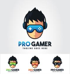 Pro gamer - gaming logo design template bundle vector