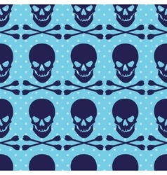 Seamless pattern with skull and crossbones on blue vector image