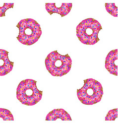 seamless pattern with yummy donuts vector image