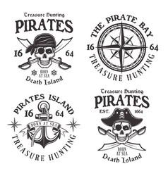set four pirates vintage emblems labels vector image