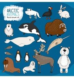 Set hand-drawn arctic animals vector