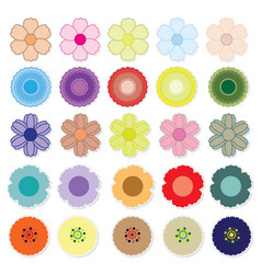 Set of bright flower vector