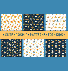 set of cute seamless cosmic patterns for kids vector image