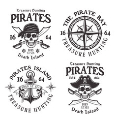 set of four pirates vintage emblems labels vector image