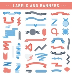 set of labels stickers and ribbons on a vector image